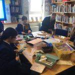 pupils making bookmarks